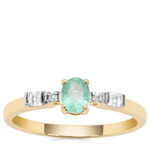 Colombian Emerald Ring with White Zircon in 9K Gold 0.53ct