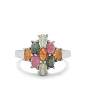 2.16ct Rainbow Tourmaline Sterling Silver Ring