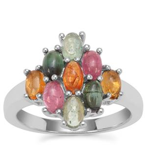 Rainbow Tourmaline Ring in Sterling Silver 2.16cts
