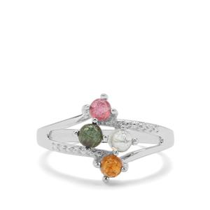 0.88ct Rainbow Tourmaline Sterling Silver Ring