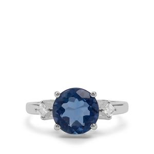 Colour Change Fluorite & White Zircon Sterling Silver Ring ATGW 3.29cts