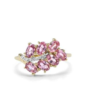 Sakaraha Pink Sapphire Ring with Diamond in 9K Gold 2cts