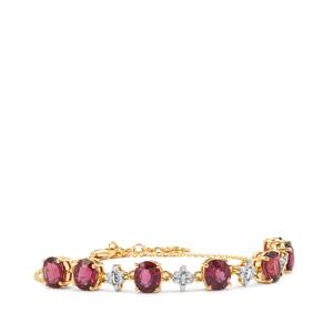 Malawi Garnet Bracelet with Diamond in 18K Gold 10.17cts