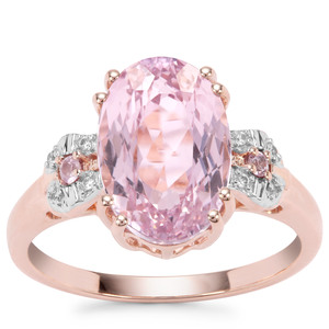 Nuristan Kunzite,  Sakaraha Pink Sapphire Ring with White Zircon in 9K Rose Gold 4.71cts