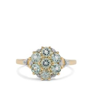 Aquaiba Beryl & White Zircon 9K Gold Ring ATGW 1.11cts