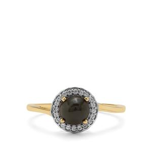 Cats Eye Enstatite Ring with White Zircon in 9K Gold 1.47cts