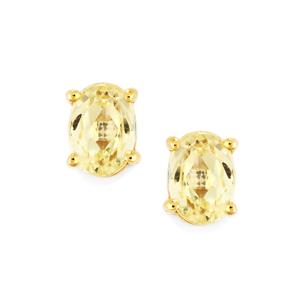 2.38ct Canary Kunzite 10K Gold Earrings