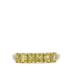 Arizona Peridot Ring with Diamond in 9K Gold 1.15cts