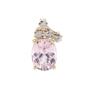 Kolum Kunzite Pendant with White Zircon in 9K Gold 3.75cts