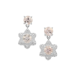Rose Danburite Earrings with White Zircon in Sterling Silver 3.58cts