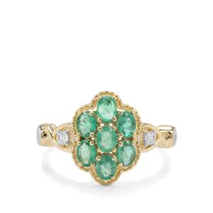 Zambian Emerald & White Zircon 9K Gold Ring ATGW 1.24cts