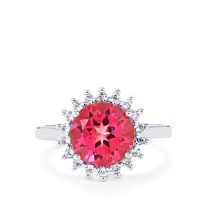 3.47ct Mystic Pink & White Topaz Sterling Silver Ring