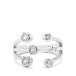Itinga Petalite & White Zircon Sterling Silver Ring ATGW 0.44ct