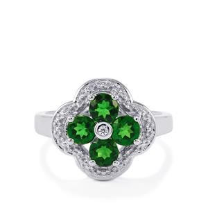 Chrome Diopside & White Zircon Sterling Silver Ring ATGW 1.44cts