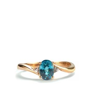 Ratanakiri Blue Zircon Ring with White Zircon in 10K Gold 1.49cts