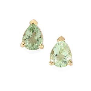 Mozambique Mint Tourmaline Earrings in 10K Gold 0.53ct