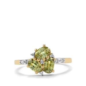 Ambanja Demantoid Garnet Ring with Diamond in 10K Gold 1.53cts