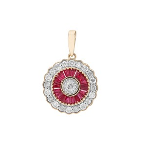Burmese Ruby Pendant with Diamond in 9K Gold 1.21cts
