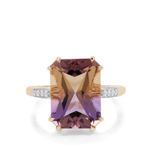 Anahi Ametrine Ring with White Zircon in 9K Gold 6.22cts