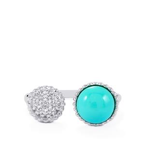 Cochise Turquoise Ring with White Topaz in Sterling Silver 1.82cts