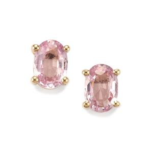 1ct Sakaraha Pink Sapphire 10K Gold Earrings