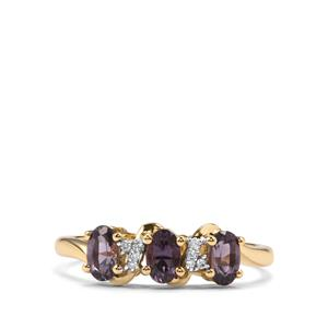 Mahenge Purple Spinel Ring with Diamond in 10K Gold 0.81ct