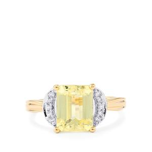 Canary Kunzite Ring with White Zircon in 10k Gold 3.12cts