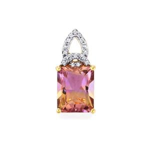 Anahi Ametrine Pendant with White Zircon in 10k Gold 4.48cts