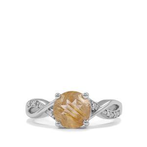 Bahia Rutilite & Diamond Sterling Silver Ring ATGW 1.63cts