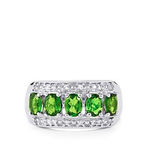 Chrome Diopside & White Topaz Sterling Silver Ring ATGW 2cts