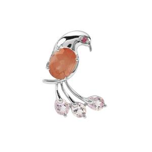 Guyang Sunstone, Rose du Maroc Amethyst Pendant with Rajasthan Garnet in Sterling Silver 2.67cts
