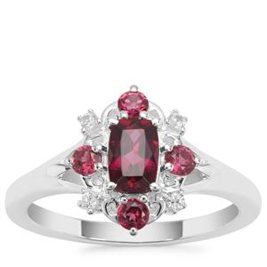 Tocantin Garnet Ring with White Zircon in Sterling Silver 1.14cts