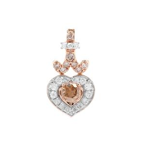 Champagne Diamond Pendant with White Diamond in 9K Rose Gold 0.53ct