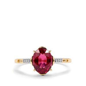 Malawi Garnet Ring with Diamond in 9K Gold 2cts