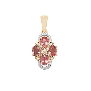 Padparadscha Sapphire Pendant with Diamond in 10K Gold 2.03cts