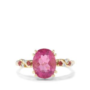 Natural Pink Fluorite,Kaffe Tourmaline & Diamond 9K Gold Ring ATGW 3.27cts