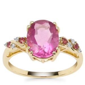Natural Pink Fluorite,Kaffe Tourmaline Ring with Diamond in 9K Gold 3.27cts