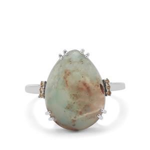 Aquaprase™ & Champagne Diamond 9K White Gold Ring ATGW 6.80cts