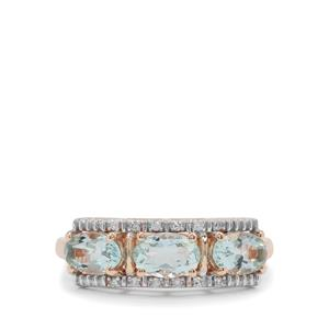Aquaiba™ Beryl Ring with Diamond in 9K Rose Gold 1.25cts