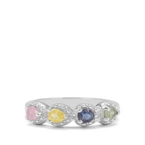0.67ct Songea Rainbow Sapphire Sterling Silver Ring