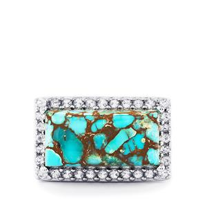 Egyptian Turquoise & White Topaz Sterling Silver Ring ATGW 7.31cts
