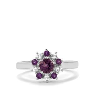 Kenyan, Zambian Amethyst Ring with White Topaz in Sterling Silver 0.83cts