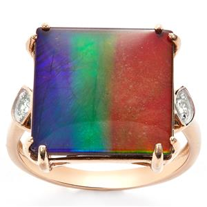 AA Ammolite & White Zircon 9K Gold Ring