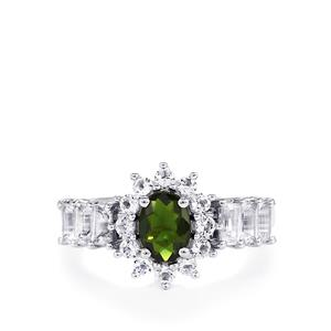 Chrome Diopside Ring with White Topaz in Sterling Silver 2.23cts