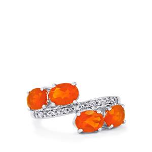 Orange AA American Fire Opal & White Topaz Sterling Silver Ring ATGW 2.44cts