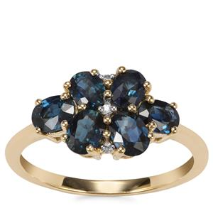 Australian Blue Sapphire Ring with White Zircon in 9K Gold 1.88cts
