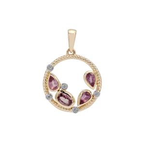 Padparadscha Sapphire Pendant with White Zircon in 9K Gold 1.35cts