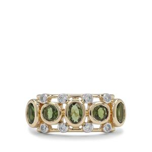 Chrome Tourmaline Ring with White Zircon in 9K Gold 1.10cts