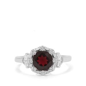 Octavian Garnet & White Zircon Sterling Silver Ring ATGW 2cts