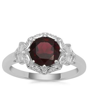 Octavian Garnet Ring with White Zircon in Sterling Silver 2cts
